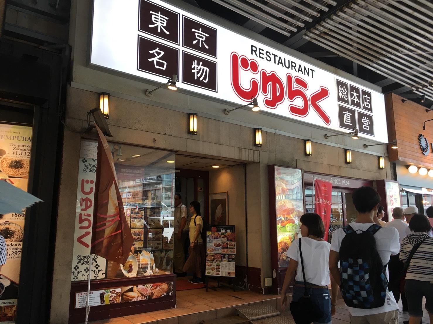 【上野駅】上野と言えば!の「じゅらく」で洋食とパンダパンケーキのじゅらく外観