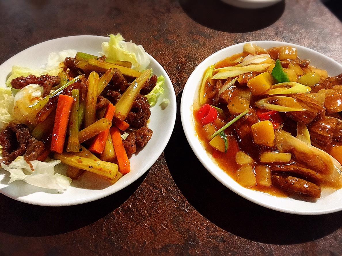 【池袋駅】飲茶専門店で中国・台湾料理が食べ放題2500円「 中国茶館」の牛肉とセロリのピリ辛炒めと酢豚風ゆば料理