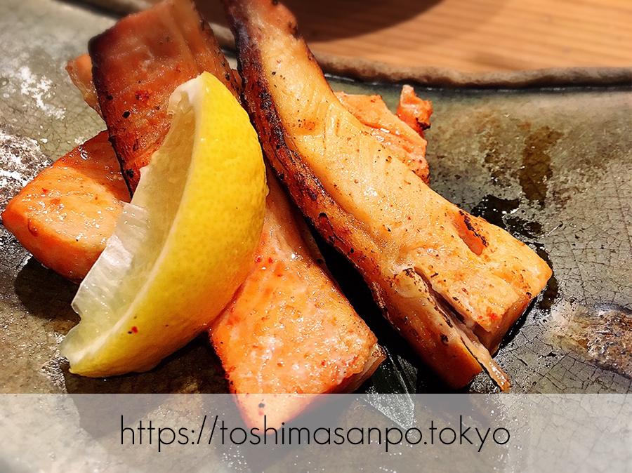 【池袋駅】もつ鍋であたたまる+明太子づくし料理「博多もつ鍋 やまや」の鮭ハラスの明太焼き