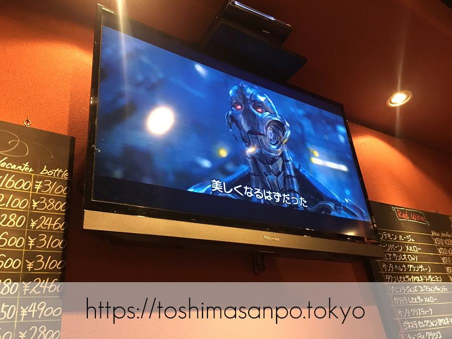 【大塚駅】コスパ悩ましい...カジュアルイタリアン「マイアミパティオ」の店内テレビ