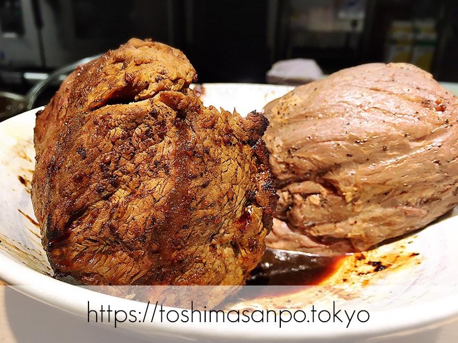 【池袋駅】肉がメイン!新感覚のローストビーフ油そば「ビースト 東池袋店」の肉のかたまり