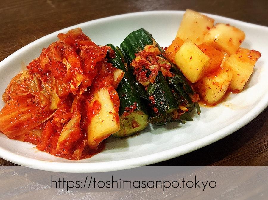 【池袋駅】気軽に手軽に安く韓国家庭料理が楽しめる「イモチャン」ニラチヂミがナイス!のキムチ盛合せ