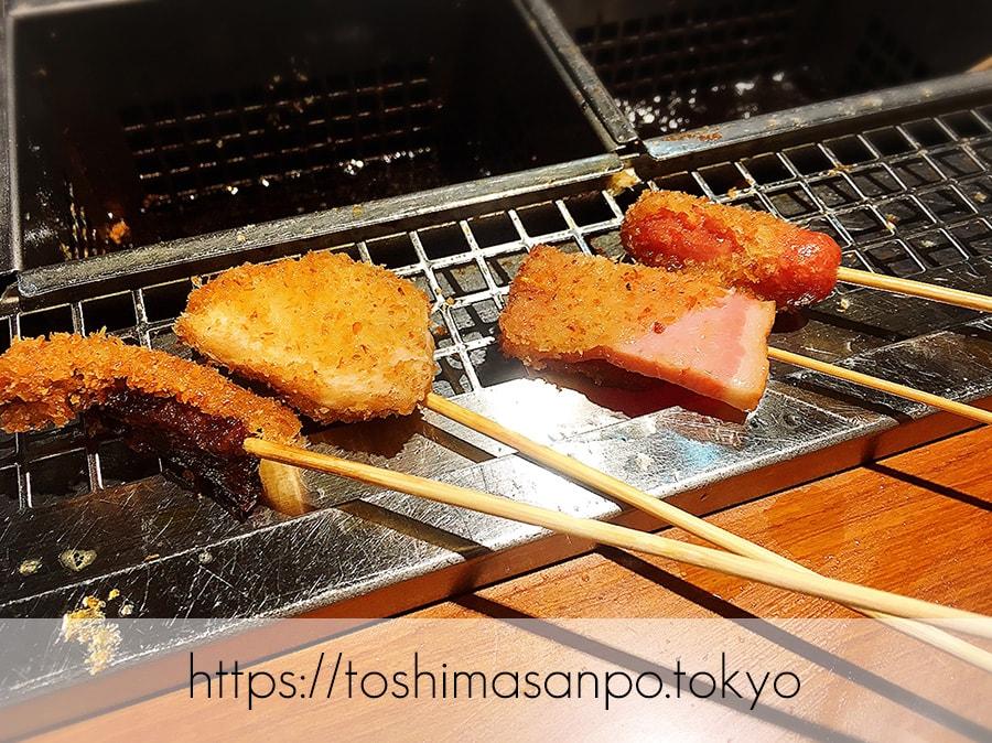 【池袋駅】なにこれ楽しい!みんなで行こうよ、自分で揚げる串揚げの食べ放題「串家物語 LABI1池袋店」の串揚げ1