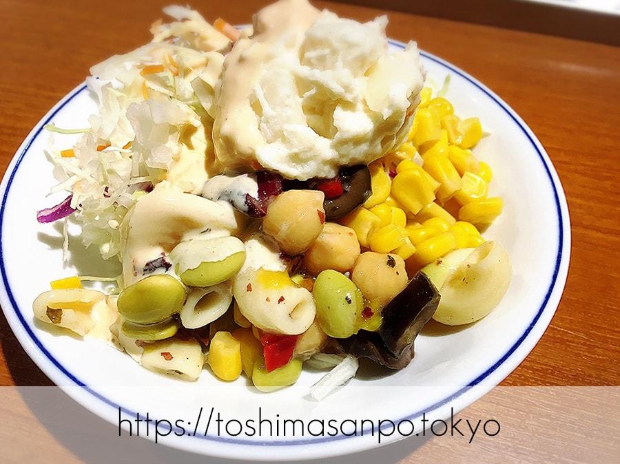 【池袋駅】なにこれ楽しい!みんなで行こうよ、自分で揚げる串揚げの食べ放題「串家物語 LABI1池袋店」のサラダ