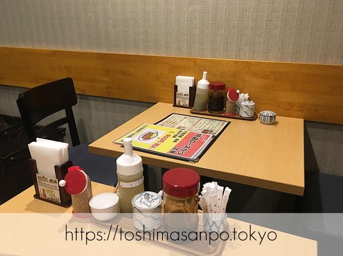 【池袋駅】濃いめソースで激うま!気軽に入れる池袋駅直結の東武ホープセンター内「とんかつ 大吉」のテーブル