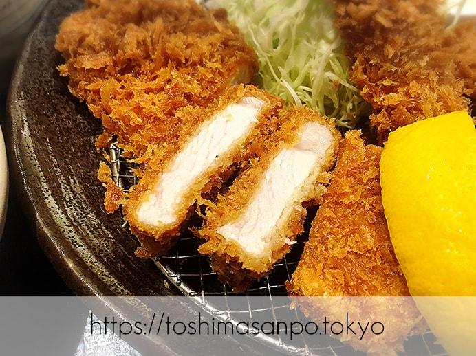 【池袋駅】あの和幸と少し違う!バッチリ美味しい&おかわり自由「とんかつ 和幸 東武池袋店」の桃豚ロースかつ定食のロースかつ