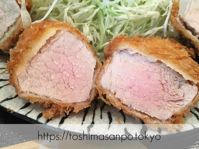 【池袋駅】復活再始動!嬉嬉豚とんかつ『君に、揚げる。』この肉この価格で!?驚くべき脂と甘さにうっとり。の特上ヒレかつの断面